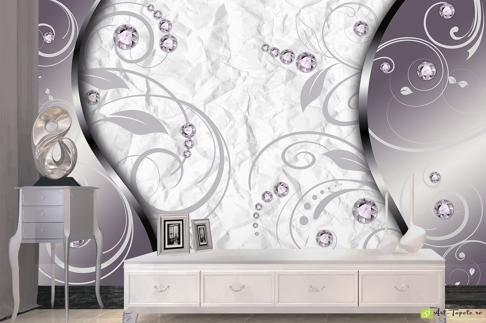 Wall Murals Digital Wallpaper 3D Abstraction with Diamonds