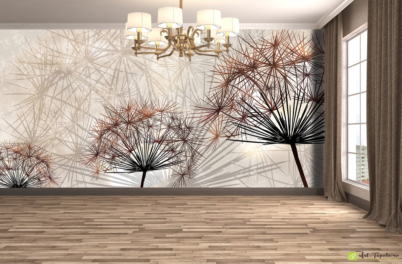 Wall murals digital wallpaper dandelion illustration for Digital mural wallpaper
