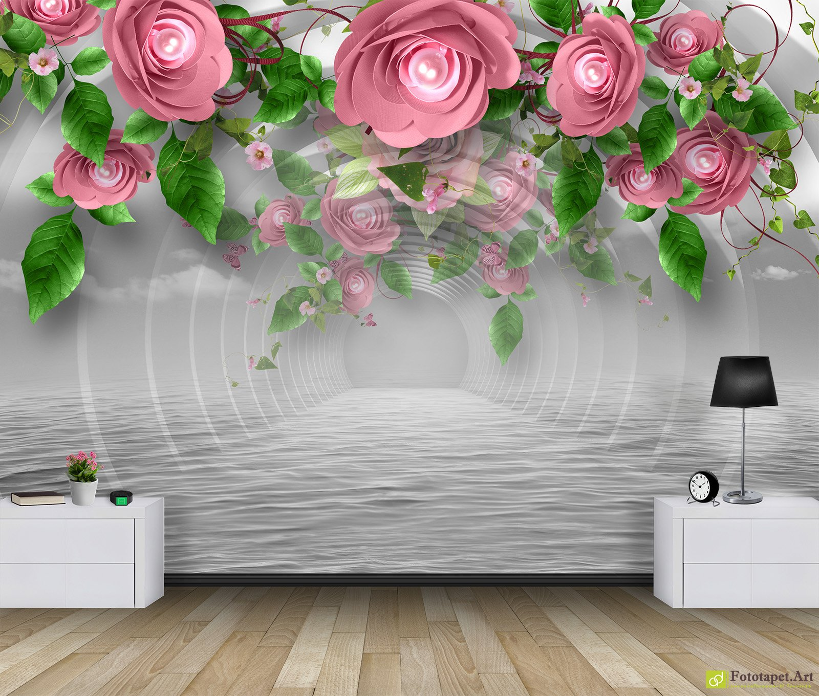 Photo Wallpaper 3D Effect - Tunnel with flowers ...