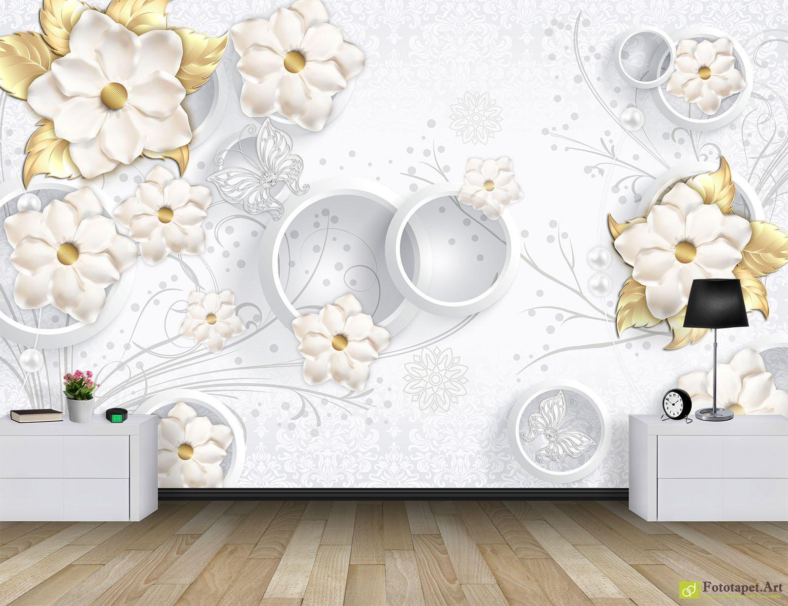 Photo Wallpaper 3D Effect - Golden flowers on a light-colored