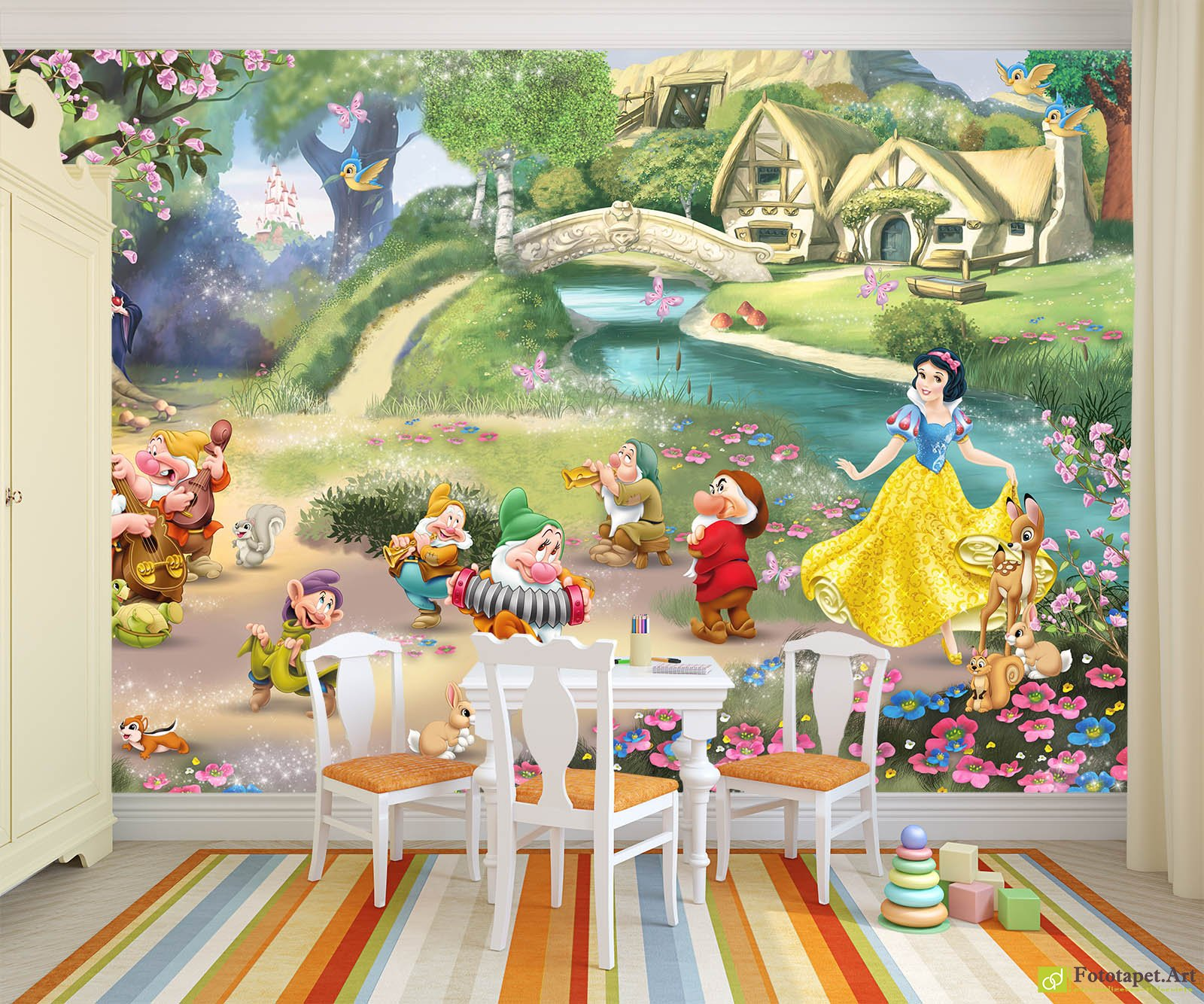 Children 39 s wallpaper wall murals snow white and the for Childrens mural wallpaper