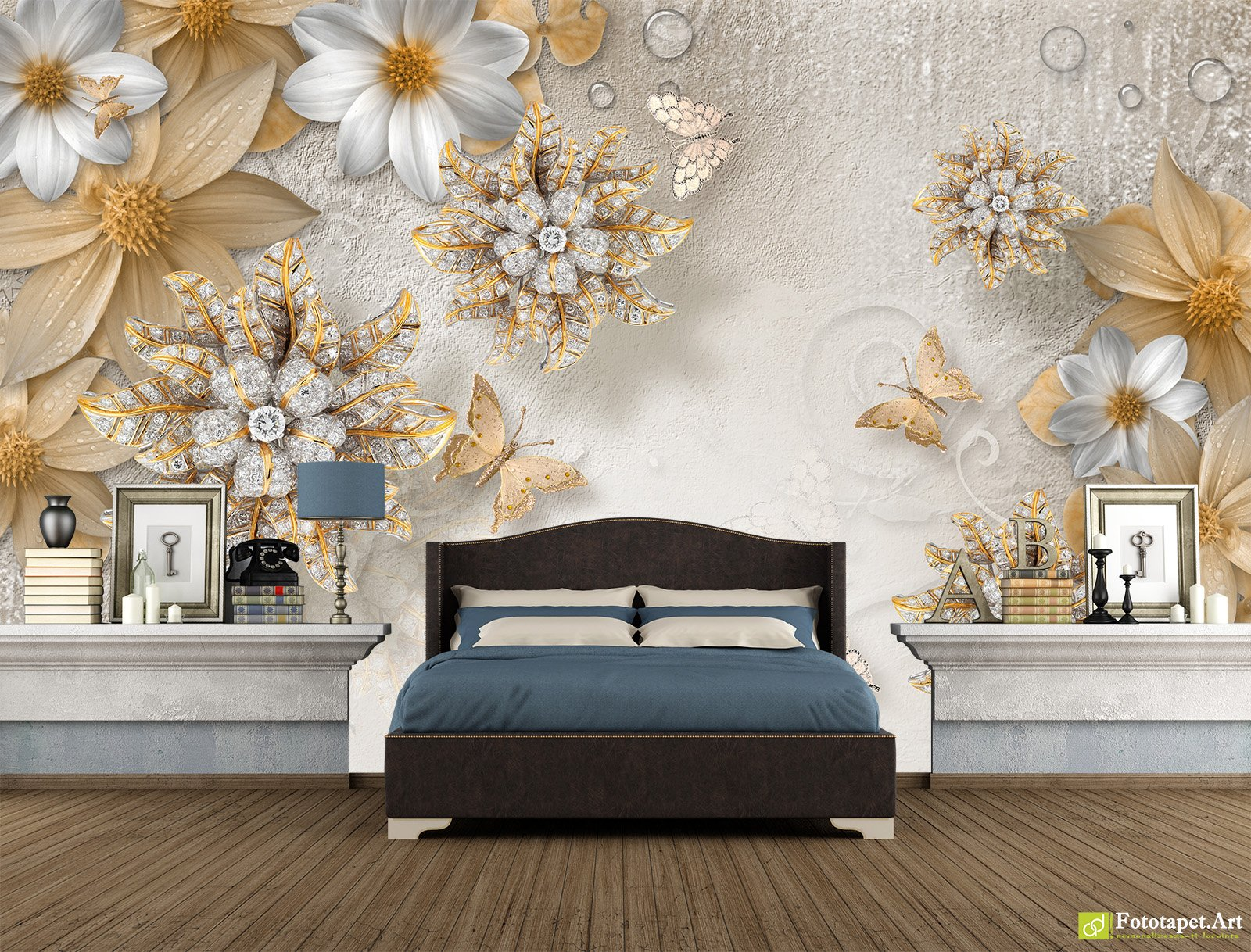 Retro Wallpaper Vintage Wall Murals Flowers And Butterflies On The