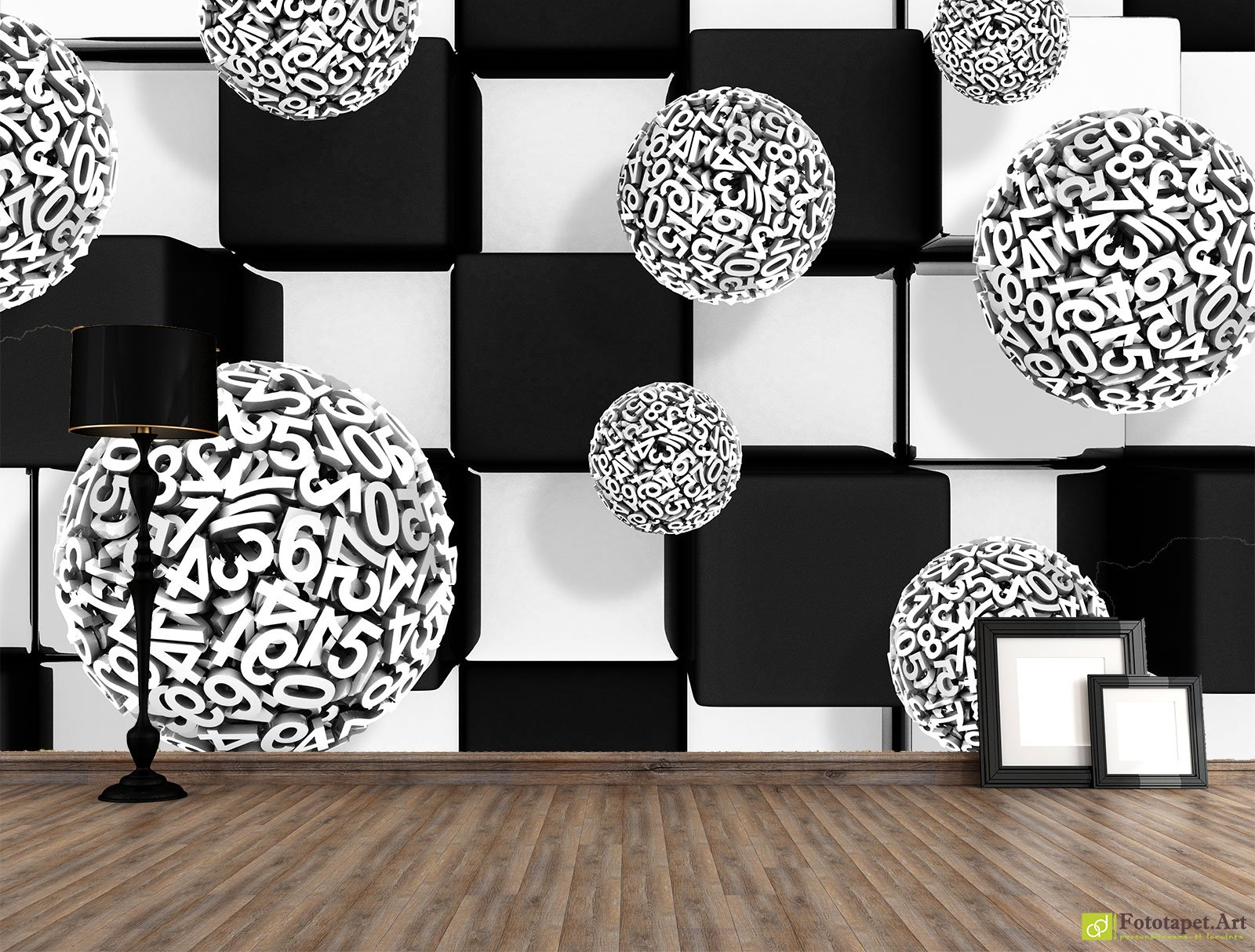 Photo Wallpaper 3d Effect Black And White Square With Balloons