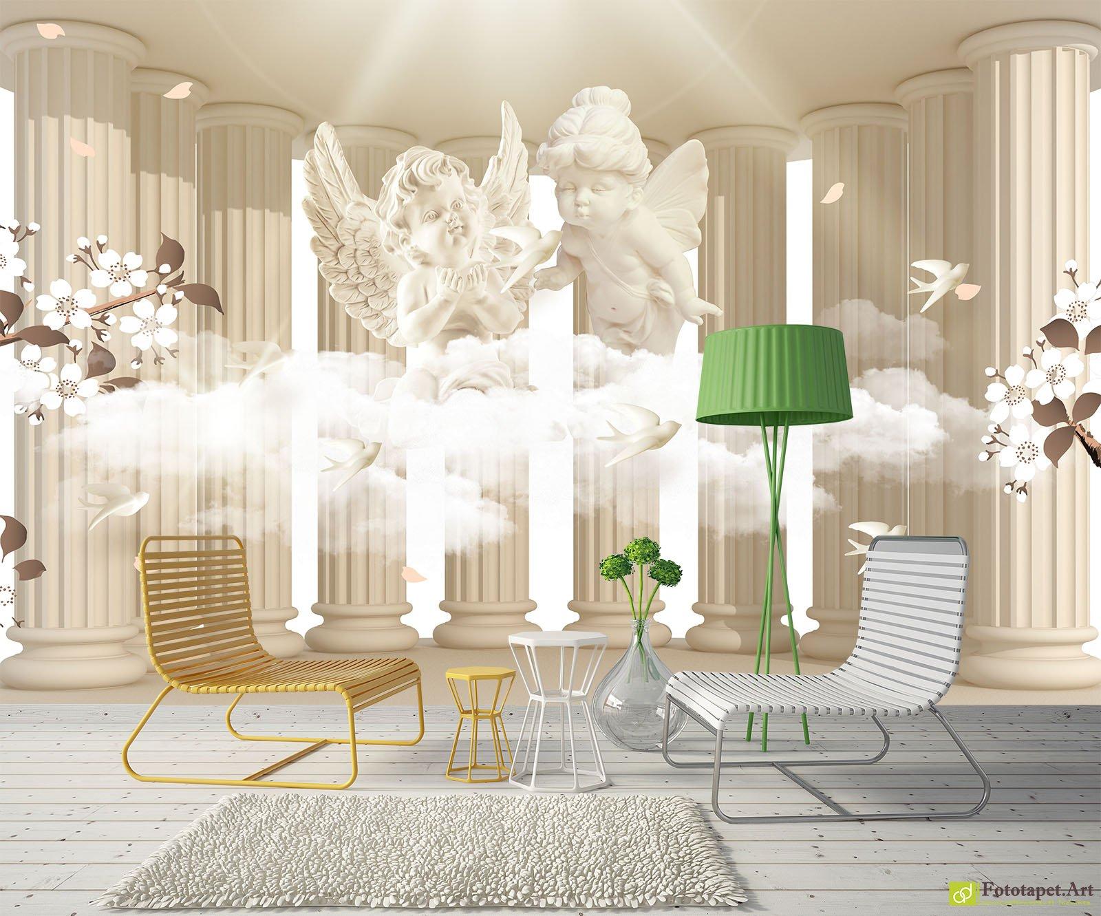 Photo Wallpaper 3D Effect - Columns and angels | Fototapet.art ...