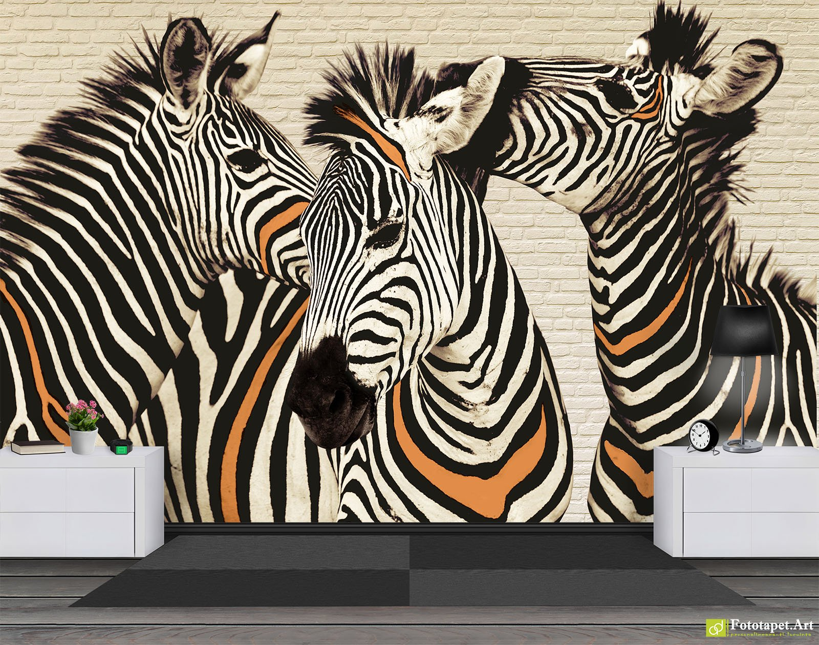 Photo wallpaper Wall Murals Three zebras Fototapetart Guaranteed