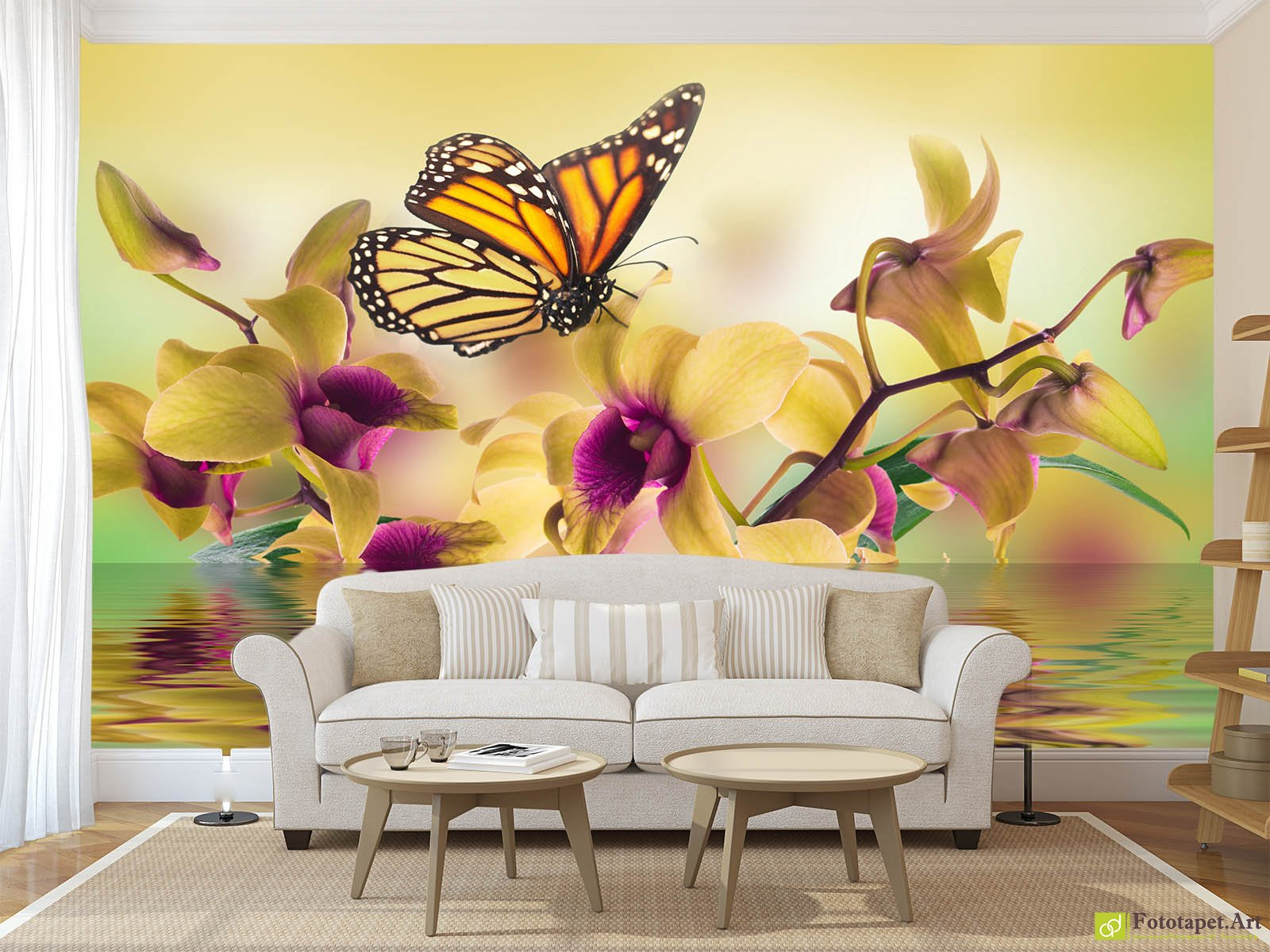 Wall Mural & Photo Wallpaper, Flowers - Yellow orchid on water ...