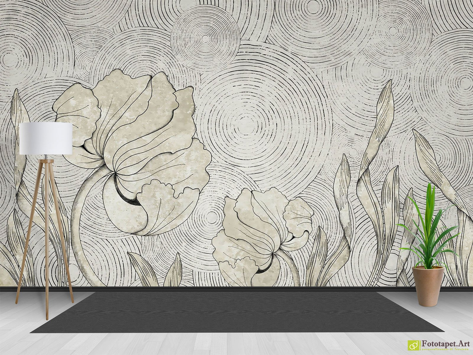 Retro Wallpaper Vintage Wall Murals Flowers And Circles In Gray