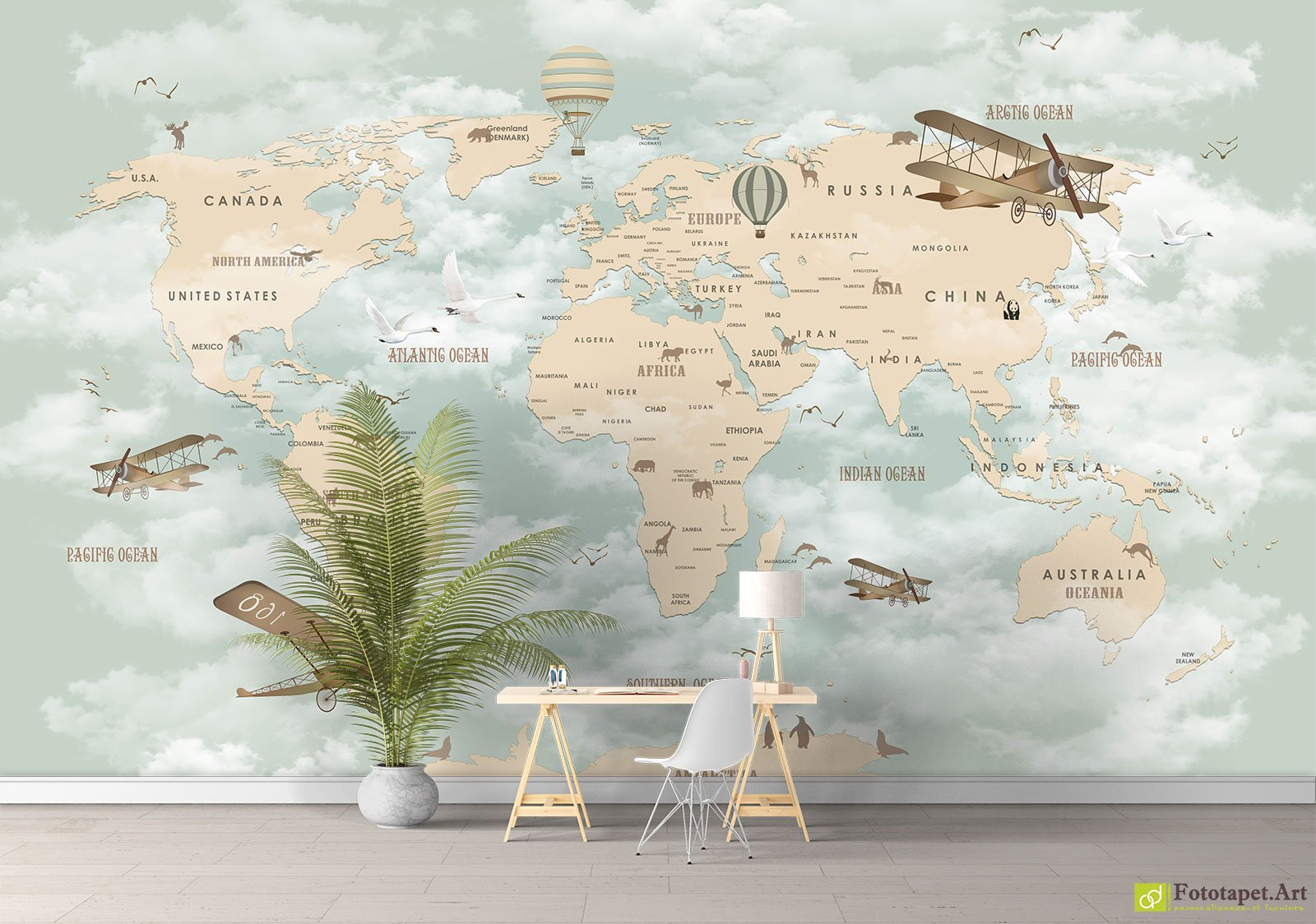 Childrens wallpaper wall murals map of the world in the childrens wallpaper wall murals map of the world in the nursery2 fototapett removable wallpaper for your exhibition and retail space gumiabroncs Images