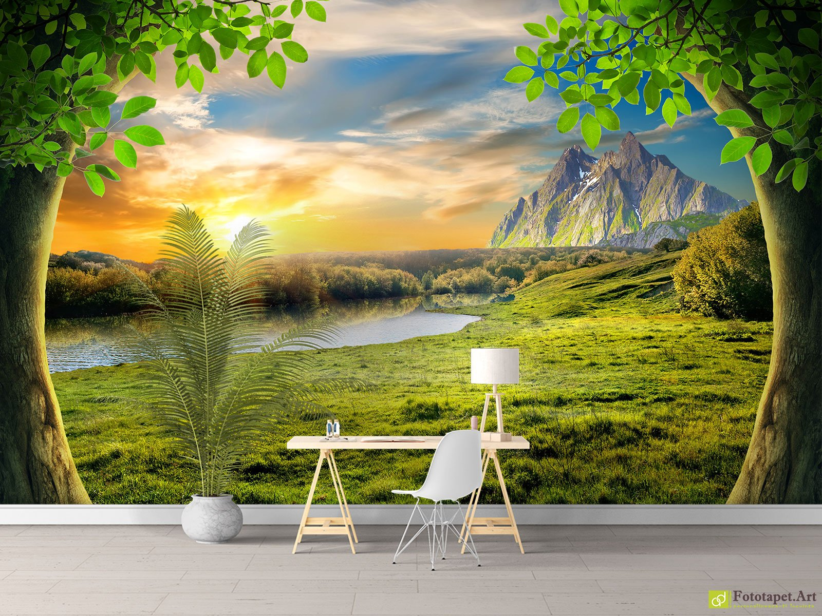 Nature Wallpaper & Wall Murals - Trees, mountains, sunrise ...