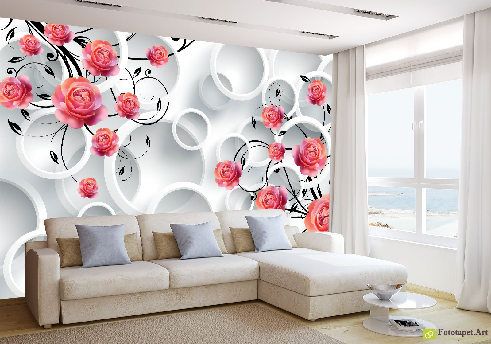 Photo Wallpaper With 3d Effect Red Roses With White Circles