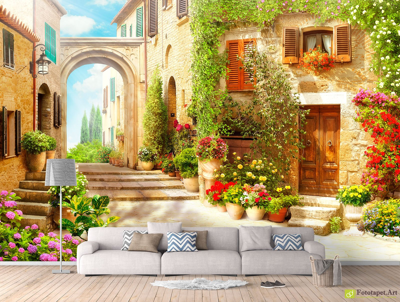 Fresco Wallpaper & Wall Murals - Streets and courtyards_4| Fototapet ...