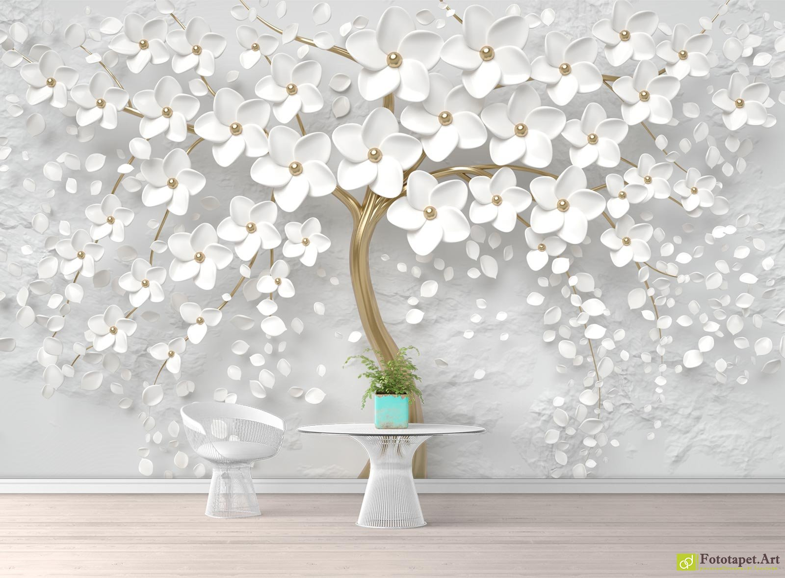 Tree And White Flowers With 3d Effect Fototapet Art Breath New