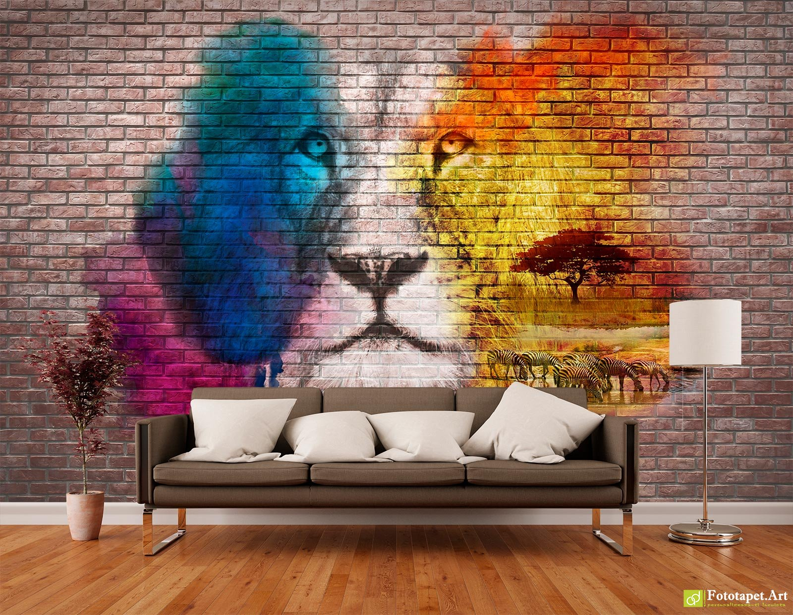 Wall murals digital wallpaper face of savannah on brick background