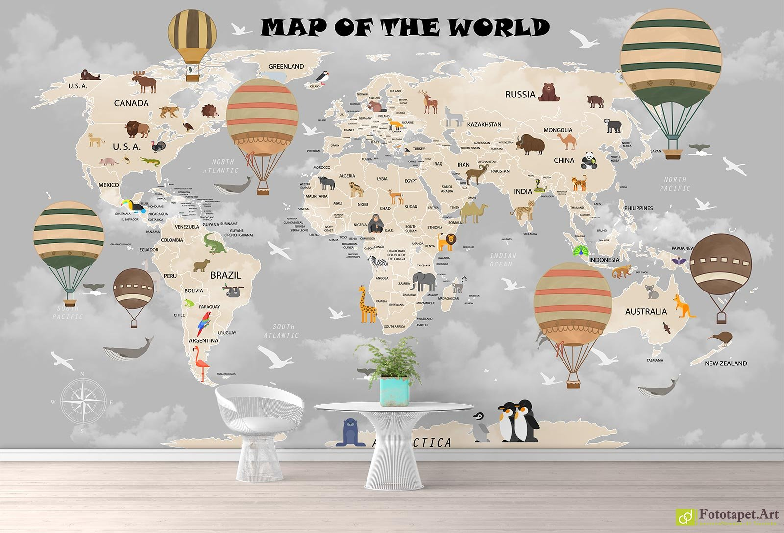 Children S Wallpaper Wall Murals Map Of The World In The